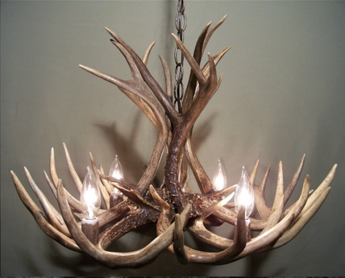 "The Michigan Deer Antler Chandelier, 23"" Wide x 15"" Tall, 4 Lights"
