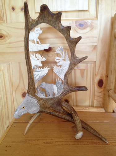 Alaska Big 4 Antler Carving