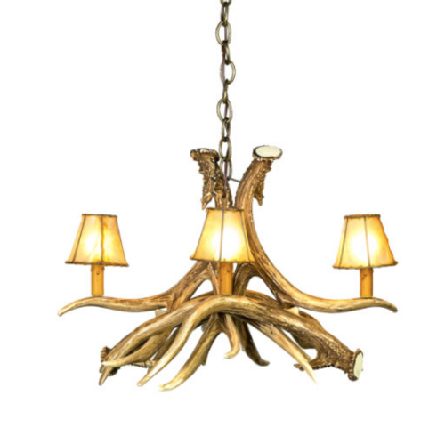 "The Gillette Mule Deer Cast Antler Chandelier, 24""Wide by 18"" Tall"