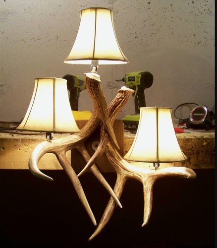 3 Light Deer Antler Wall Sconce