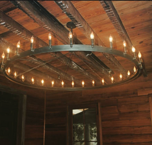 St. James Steel Round Custom Chandelier, 30 Lights