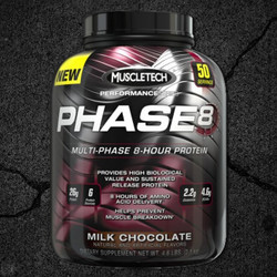 MuscleTech Phase8 is a premium blended protein formula that feeds your muscles for 8 hours. Each scoop contains an impressive 26-gram blend of milk-derived proteins that supplies a sustained-release of amino acids.