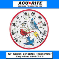 "Acu-Rite 12"" Songbirds Outdoor Garden Thermometer"