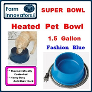 Premium Heated Dog, Cat & Pet Water Bowl--1.5 Gallon (Blue)