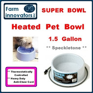 Premium Heated 1.5 Gallon Dog, Cat & Pet Water Bowl--Grey Speckletone