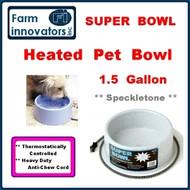 Premium Heated 1.5 Gallon Dog, Cat & Pet Water Bowl--Grey Speckletone