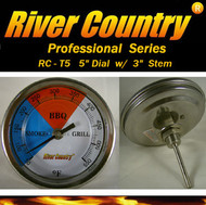 "5"" River Country Adjustable BBQ, Grill, Smoker & Pit Thermometer (RC-T53) (3"" Stem)"