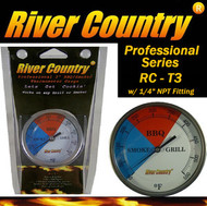 "3"" River Country Adjustable BBQ Grill, Smoker & Pit Thermometer (RC-T3) 1/4 NPT"