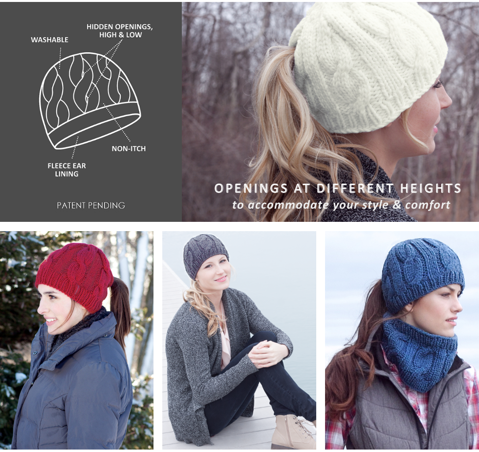 peekaboos-ponytail-hats-ponytail-hats-ponytail-hat-ponytail-beanie-cable-knit-beanie-with-hidden-ponytail-holes-ponytail-openings-high-and-low-models-wearing-fleece-lined-winter-knit-hats-for-ponytails-index-header.png
