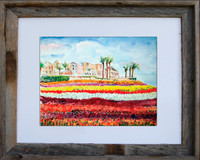 8 x 10 inch Carlsbad Flower Field fine art print by Dotty Reiman in an 11 x 14 inch barn wood frame
