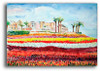 Watercolor painting of the Carlsbad Flower Fields by Dotty Reiman