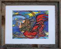 8 x 10 inch mermaid art print titled Creating Inspiration by Tamara Kapan in an 11 x 14 inch barn wood frame