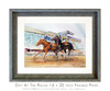 12 x 16 inch Day at the Races horse racing print matted and framed in a 16 x 20 inch weathered grey wood frame