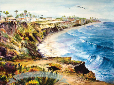 Carlsbad Beach, California Watercolor Painting by Dotty Reiman Titled Dip In The Road