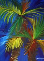 Double Palm Tree Original Tropical Painting by Tamara Kapan