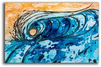 Original Yellow and Blue Abstract Wave Painting by Tamara Kapan