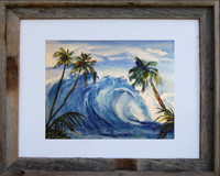 8 x 10 inch Watercolor Wave Art Print by Dotty Reiman titled The Grinder in an 11 x 14 inch barn wood frame