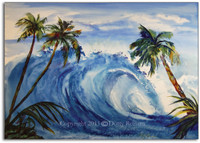 Watercolor Wave Painting by Dotty Reiman titled The Grinder