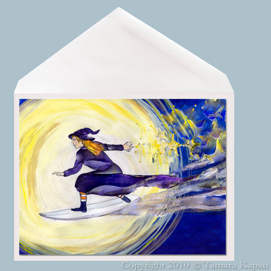 Surfing Witch Greeting Card by Tamara Kapan titled Making Magic