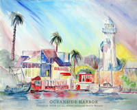Oceanside Harbor Watercolor Painting by Dotty Reiman