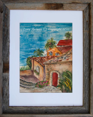 Old Village View Fine Art Print by Dotty Reiman.  Shown here in an 11 x 14 inch barn wood frame.