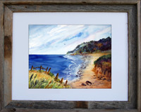 Oregon Coast With Birds fine art print by Dotty Reiman shown in an 11 x 14 inch rustic barn wood frame.