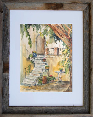 Tuscany inspired watercolor titled The Patio by Dotty Reiman