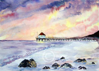 The Pier Original Watercolor Art by Dotty Reiman