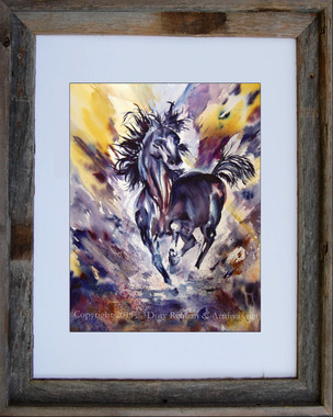 8 x 10 inch abstract horse print titled Runaway by Dotty Reman in an 11 x 14 inch barn wood frame