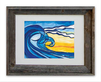 8 x 10 inch Abstract Wave Art titled Serendipity by Tamara Kapan in an 11 x 14 inch barn wood frame