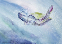 Solo - SOLD Sea Turtle Watercolor Painting