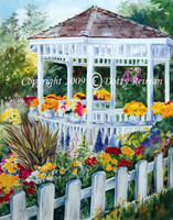 Original watercolor of flower gazebo titled Springtime Blooms by Dotty Reiman