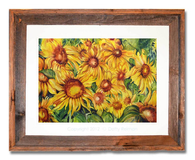 12 x 16 inch Sunflower fine art print by Dotty Reiman in a 16 x 20 inch rustic frame
