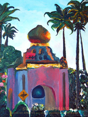 Original painting by Tamara Kapan of the Self Realization Center in Encinitas, California