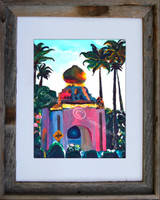8 x 10 inch surf themed print titled Surfer's Crossing by Tamara Kapan in an 11 x 14 inch barn wood frame