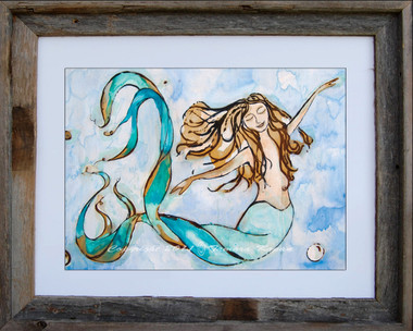 12 x 16 inch mermaid art print titled Sweet Dreams by Tamara Kapan in a 16 x 20 inch barn wood frame