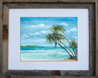 8 x 10 inch beach print titled Tradewinds by Dotty Reiman in an 11 x 14 inch barn wood frame