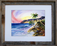 11 x 14 fine art print titled Tropical Hideaway by Dotty Reiman in an 11 x 14 inch barn wood frame