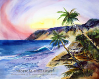 "Tropical island watercolor titled ""Tropical Hideaway"" by Dotty Reiman"