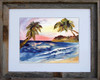 "8 x 10 inch tropical island print titled ""Tropical Sunset"" by Dotty Reiman in an 11 x 14 inch barn wood frame"