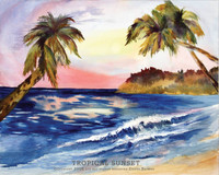 Original Tropical Island Watercolor by Dotty Reiman titled Tropical Sunset