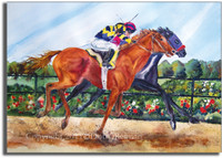Horse Racing Watercolor Painting by Dotty Reiman titled By a Nose