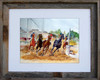 8 x 10 inch watercolor horse racing print titled Last Lap by Dotty Reiman in an 11 x 14 inch barn wood frame