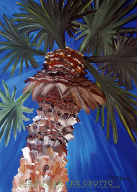"Tropical Palm Tree Original Painting by Tamara Kapan titled ""View From The Grotto"""