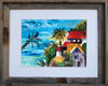 16 x 20 barn wood framed tropical watercolor print by Dotty Reiman