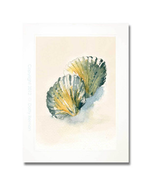 Seashell watercolor painting by Dotty Reiman titled Seaglass Scallop