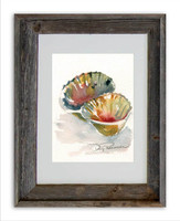 8 x 10 Double Scallop Shell Wall Art Print by Dotty Reiman in an 11 x 14 inch rustic barn wood frame
