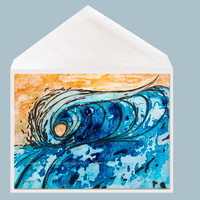 Dove Tail wave art greeting card by Tamara Kapan