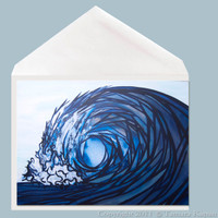Fractured wave art greeting card by Tamara Kapan