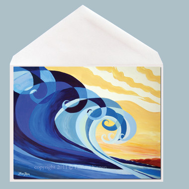 Mavericks wave art greeting card by Tamara Kapan